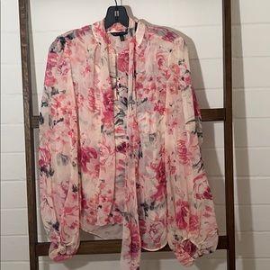 NWOT Whbm sheer long sleeved floral blouse